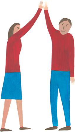Dorośli przybijają piątkę na zajęciach plastycznych